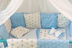 Комплект в ліжечко для новонароджених «Хмара» — 17 предметів, для хлопчика