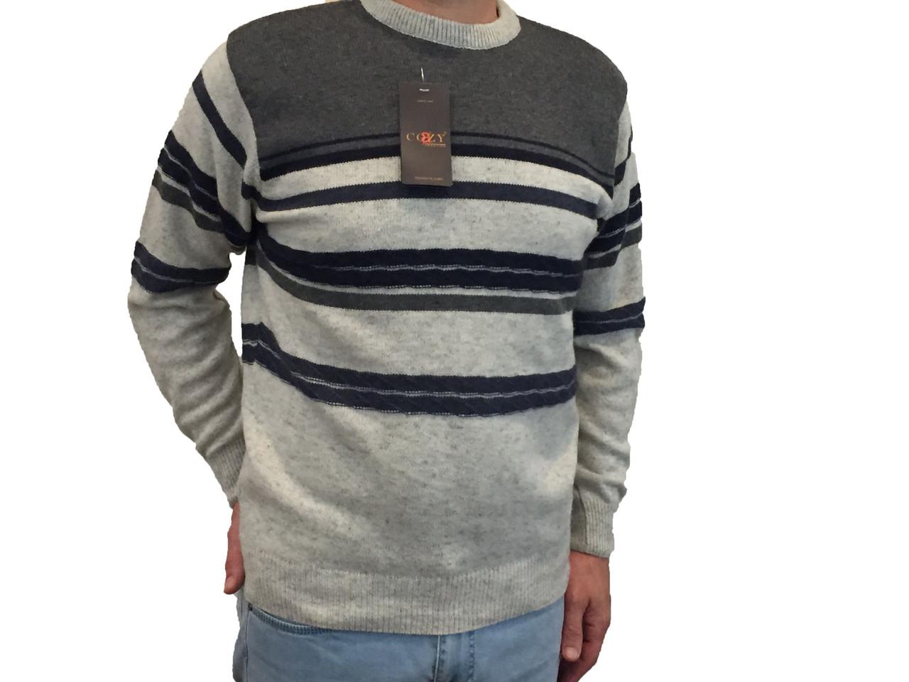 Мужской теплый свитер № 1720 серый