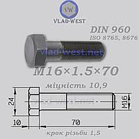 Болт с мелкой резьбой DIN 960 прочность 10,9 М16х1,5х70 черный (без покрытия)