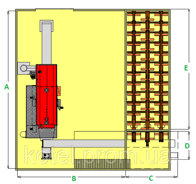 Размеры котла Комконт CH Compact 1500 квт со складом топлива