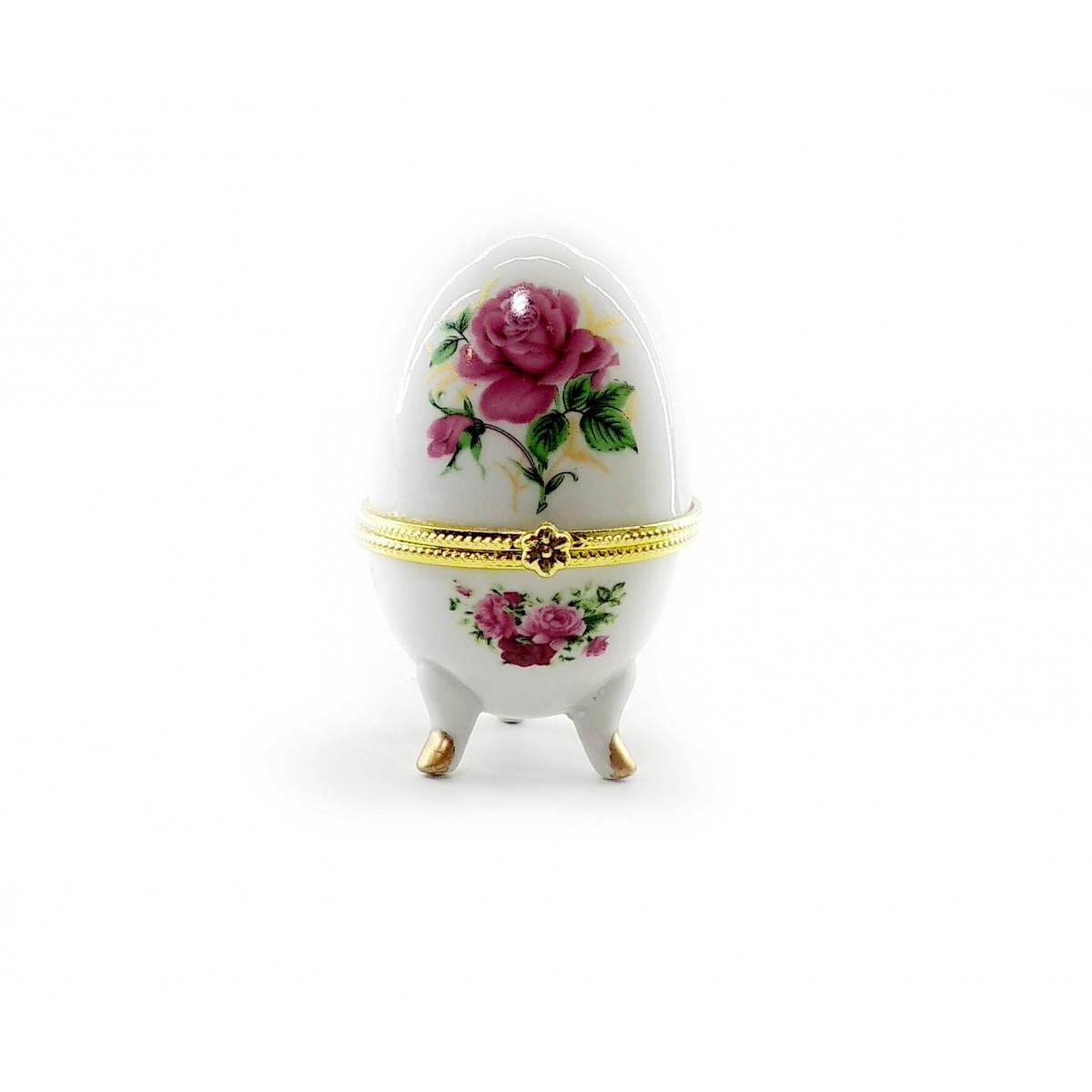 Шкатулка яйцо из керамики Розы