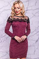 Ангоровое женское платье с красивой сеткой, фото 1