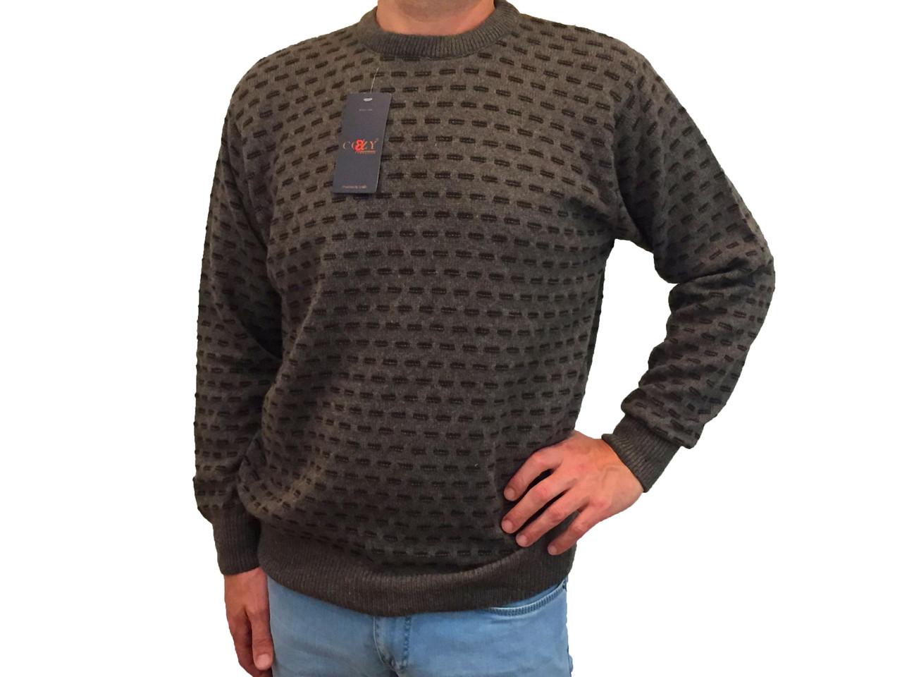 Мужской теплый свитер № 1695 коричневый