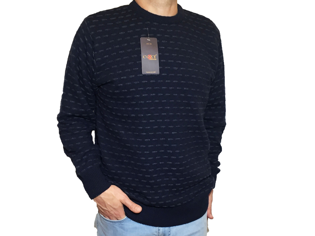 Мужской теплый свитер № 1695 синий