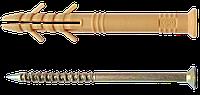 Дюбель гвоздь с ударным шурупом 6х60мм,быстрый монтаж, потай (полипропилен)