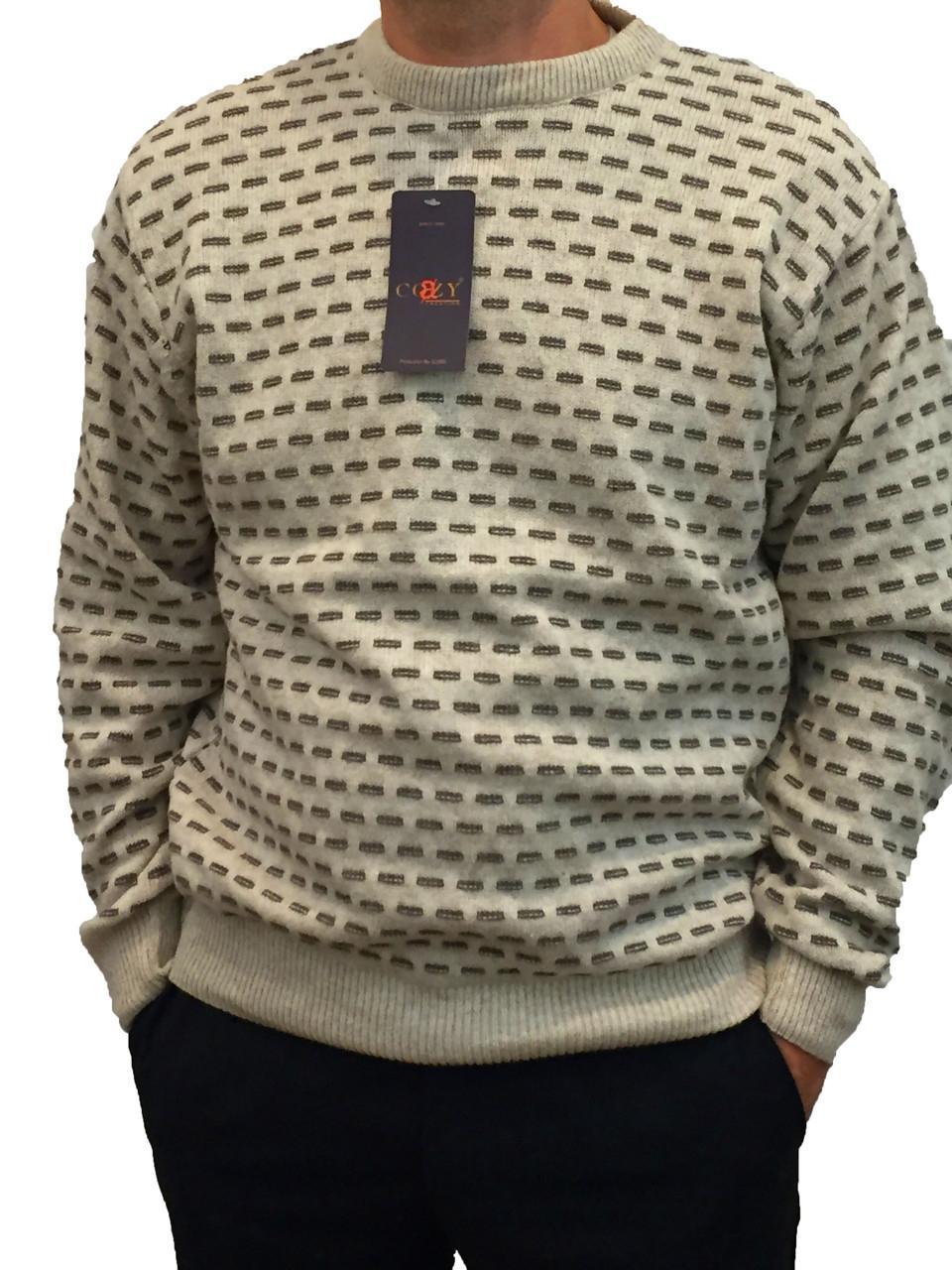 Мужской теплый свитер № 1695 беж