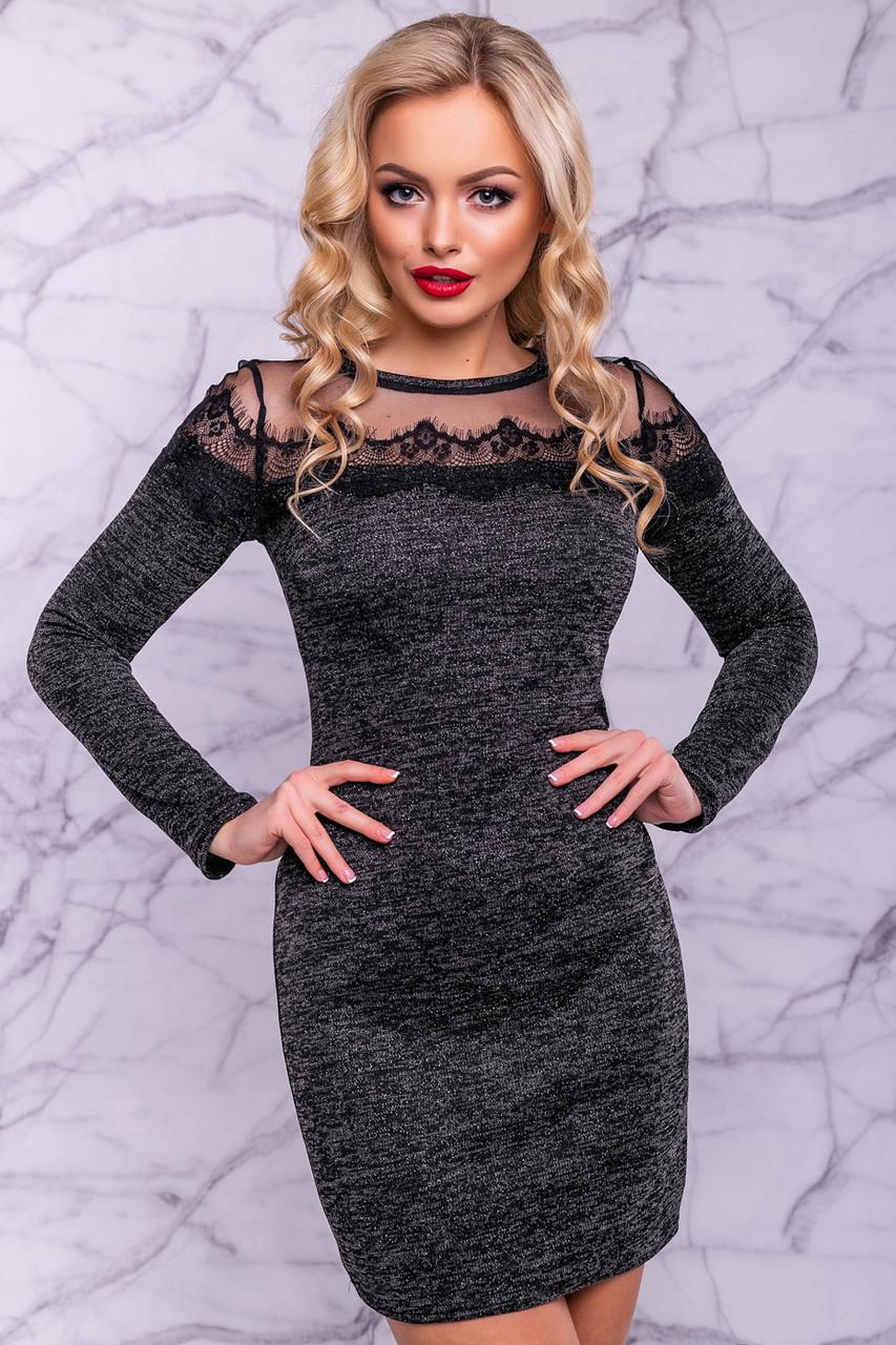 Модное женское платье из ангоры с красивой вставкой