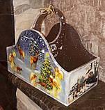 Ящик новогодний, декупаж, дерево фанера, ручная работа, 26х30х16см., 450/420 (цена за 1 шт. + 30 гр.), фото 3