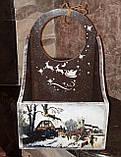 Ящик новогодний, декупаж, дерево фанера, ручная работа, 26х30х16см., 450/420 (цена за 1 шт. + 30 гр.), фото 4