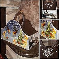 Ящик новогодний, декупаж, дерево фанера, ручная работа, 26х30х16см., 450/420 (цена за 1 шт. + 30 гр.)