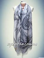 Туррецкие кашемировые палантины Жасмин, серый