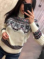 Женский шерстяной свитер с орнаментом,белый.Турция, фото 1