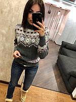 Женский шерстяной свитер с орнаментом,серый.Турция, фото 1