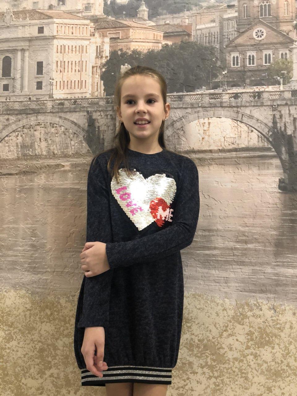 Детское теплое платье-туника  для девочки Сердце р.34-42