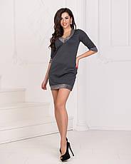 Платье мини тёмно-серое, фото 3
