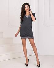 Платье мини, №93, тёмно-серое.