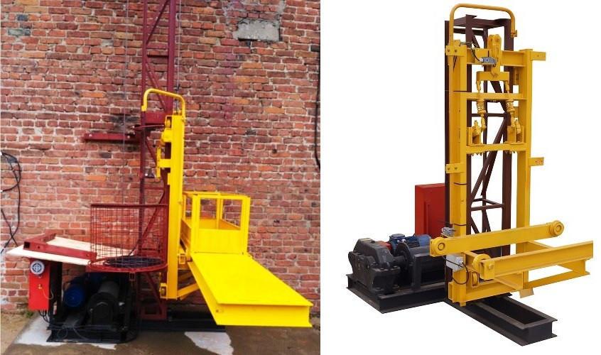 Высота подъёма Н-45 метров Мачтовый-мачтовые подъёмник-подъёмники для строительства грузовой  ПМГ г/п 500 кг .