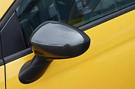 Накладки на зеркала (2 шт, натуральный карбон) - Fiat 500/500L
