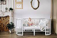 Овальная кроватка, круглая кроватка 7 в 1, М-01, белая