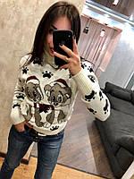 Женский шерстяной вязаный свитер с рисунком щенки,белый.Турция, фото 1