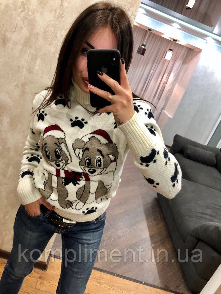 Женский шерстяной вязаный свитер с рисунком щенки,белый.Турция