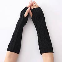 Стильные, красивые, модные черные митенки для девушек и женщин 30 см.
