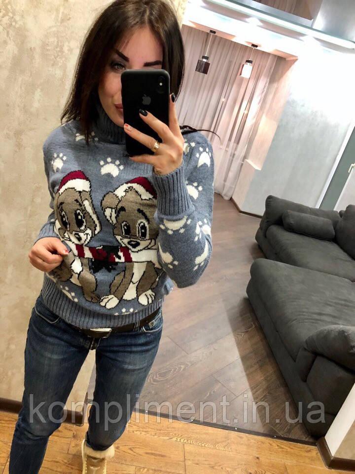 Женский шерстяной вязаный свитер с рисунком щенки,голубой.Турция