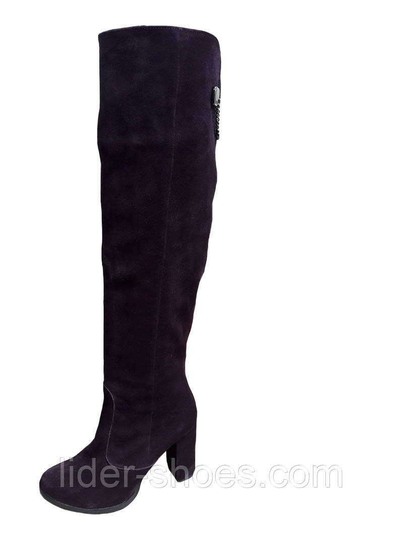 Замшевые женские ботфорты на высоком каблуке
