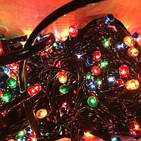 Новорічна гірлянда 8м, 300LЕD різнобарвна, чорний провід
