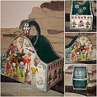 Современный новогодний ящик, декупаж, дерево и фанера, 21х19.5х11 см., 350/320 (цена за 1 шт. + 30 гр.)