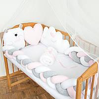 """Защита в детскую кроватку """"Белый мишка"""", сатин, М-01, фото 1"""