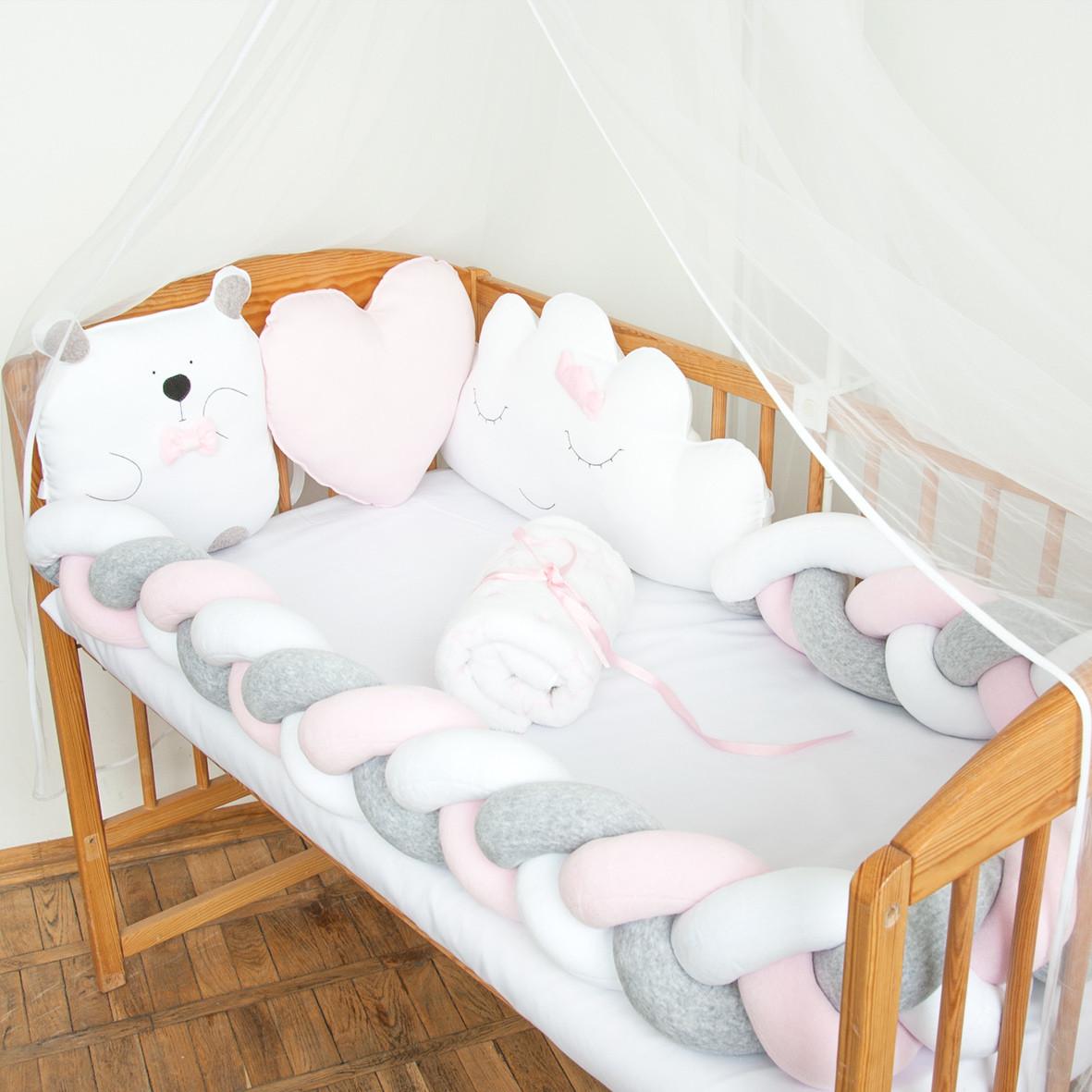 """Защита в детскую кроватку """"Белый мишка"""", сатин, М-01"""
