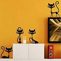 """Виниловые интерьерные наклейки на стену, окна, двери """" Черные Коты 17см - 25см"""" (лист 19*60см)"""