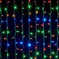 "Разноцветная Гирлянда Штора ""Кристалл"" 3х1 м 300 led -  на черном проводе мультиколор, занавес Плей Лайт, фото 1"