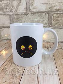 Чашка хамелеон Смайл 380 мл белая ( Оригинальный подарок )
