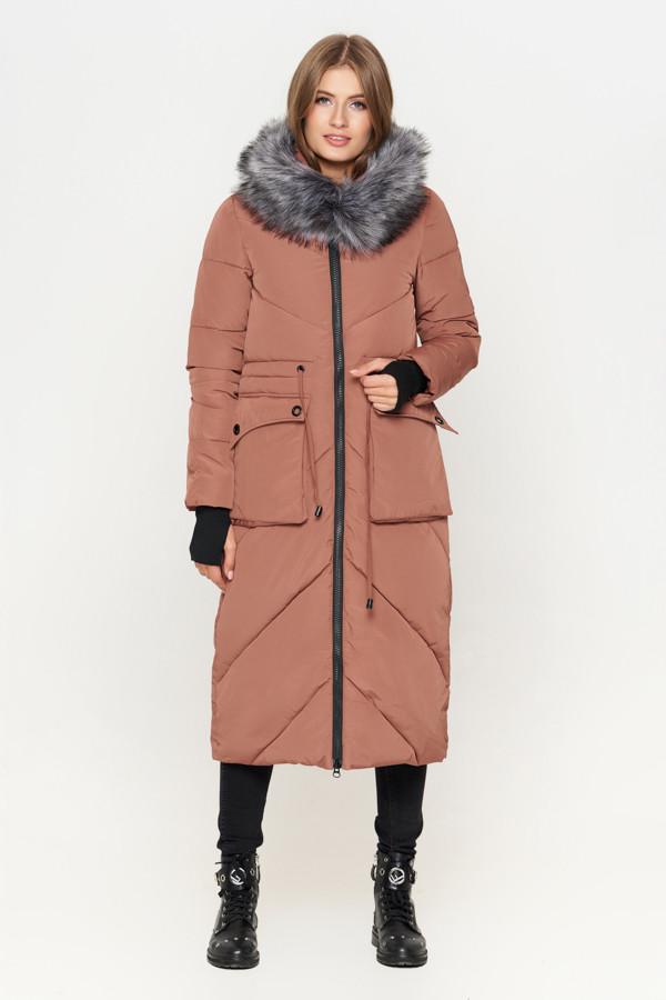 Женская зимняя куртка пуховик с мехом бежевая
