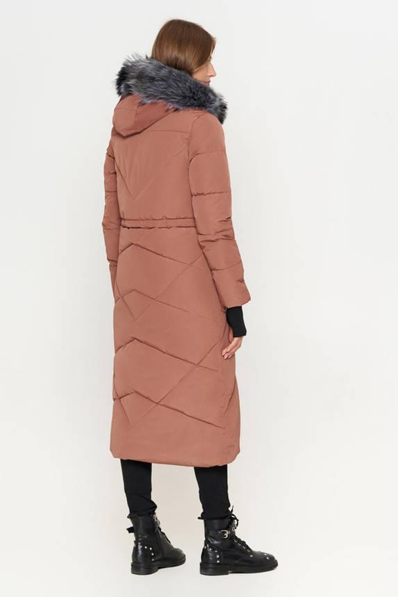 Женская зимняя куртка пуховик с мехом бежевая, фото 2