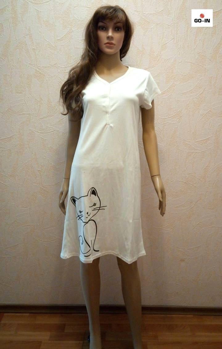 Женская ночная рубашка интерлок для кормлящих молоко