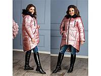 Женское пальто ХЛ пудрового цвета