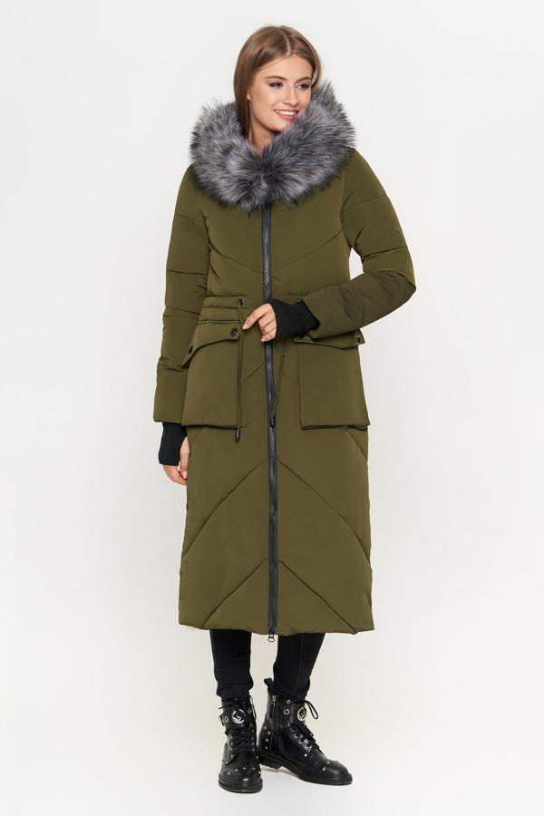 Женская зимняя куртка пуховик с мехом хаки