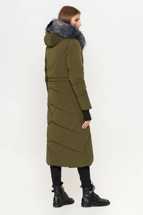 Женская зимняя куртка пуховик с мехом хаки, фото 2