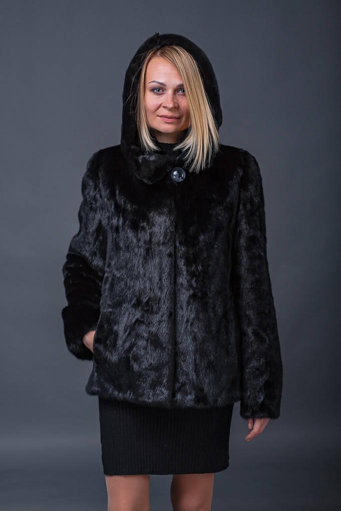 Норковая шуба 65 см. с капюшоном в цвете черный бриллиант