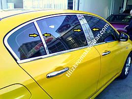 Молдинг дверних стійок (6 шт, нерж) - Fiat Tipo 2016+ рр.