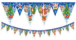 Флажки гирлянды  новогодние синие, 5 метров