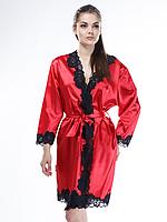 Халат шелковый красного цвета с черным кружевом