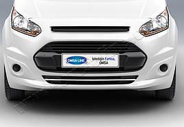 Накладки на передний бампер (1 шт, нерж) - Ford Connect 2014+ гг.
