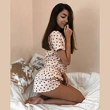 Женская  хлопковая пижама с сердечками