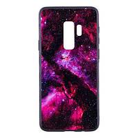 Накладка для Samsung Galaxy G965 S9 Plus TPU+Glass Космос Малиновий