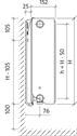 Сталевий (панельний) радіатор PURMO Ventil Compact т33 500x1200 нижнє підключення, фото 4