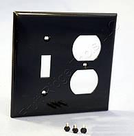 Нейлоновая накладка Pass&Seymore ( Legrand )  для розетки + выключатель американского стандарта ( чёрная ), фото 1